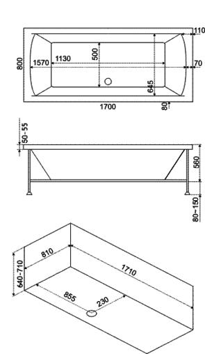 Ванна акриловая BAS Indika (ИНДИКА) 170x80