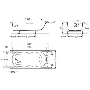 Ванна акриловая Roca BeCool 180x80 с ручками ZRU9302782