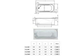 Ванна акриловая Kolpa-san STRING 150(160,170)х70 Standart с гидромассажем