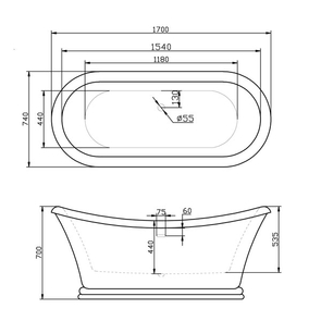 Ванна акриловая BelBagno арт. BB09 170x74x70