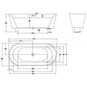 Ванна акриловая BelBagno арт. BB40-1700 170x80x61,5 со сливом-переливом