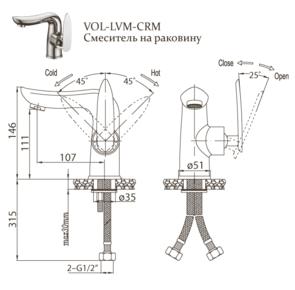 Смеситель для раковины BelBagno Volturno VOL-LVM-CRM без донного клапана